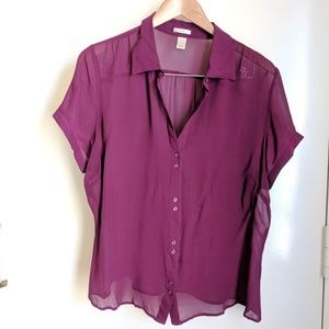 Old Navy Violet Sheer Short Sleeve Button Up Top